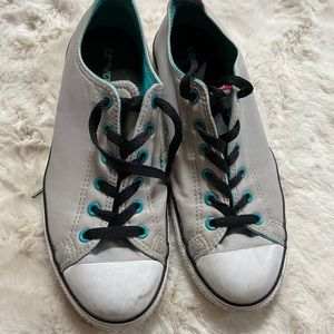 Converse gray pink and blue chuck Taylor's